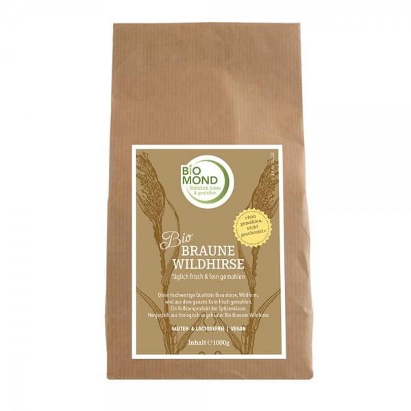 Braune Wildhirse, BIO, glutenfrei, gemahlenes Korn oder ganzes Korn mit natürlicher siliziumhaltiger Kieselsäure