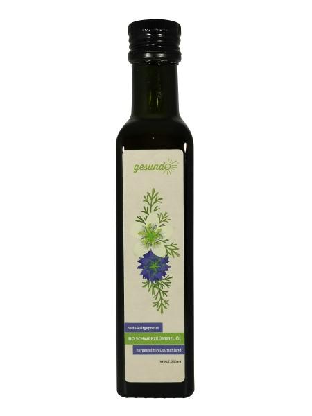 gesundo Schwarzkümmelöl BIO nativ, kaltgepresst, gefiltert, 250 ml