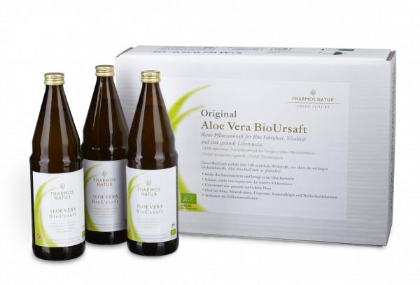 ALOE VERA Bio Ursaft (Kurpackung) mit Glyconährstoffen (3 x 750 ml )