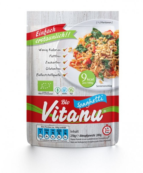 Vitanu Spaghetti, fettfreie, zuckerfreie und glutenfreie Nudeln aus dem Ballaststoff Glucomannan
