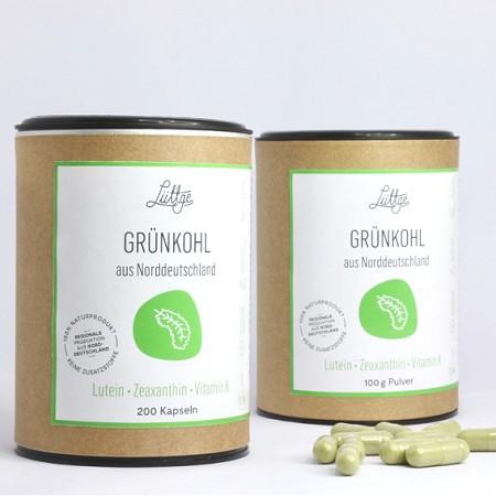 Lutein Nr. 1 Kapseln aus getrockneten Grünkohl-Blattsprossen mit Zeaxanthin