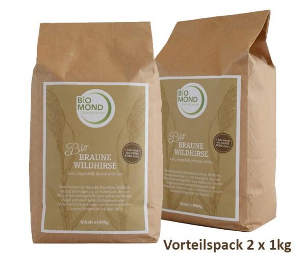 2er Pack  Braune Wildhirse, BIO, glutenfrei, (2 x 1000 g)  Ganzes Korn oder Gemahlen mit natürlicher siliziumhaltiger Kieselsäure